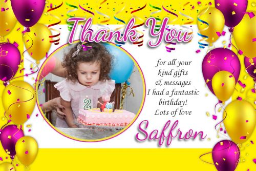 10 Personalised Girls Birthday Party Thank you PHOTO Cards N63